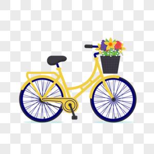 春天郊游自行车元素图片
