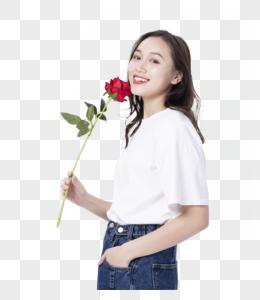 俏皮美女与玫瑰花图片