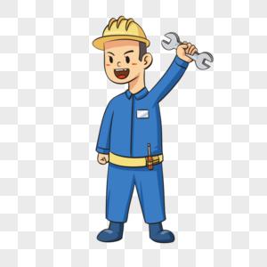 五一劳动节工人手绘插画图片