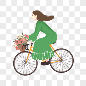 骑车春游的女孩图片