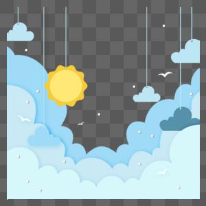 剪纸风天空背景图片