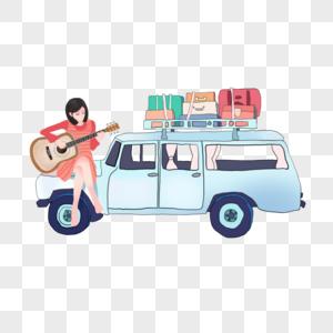 坐在车上弹吉他的女孩图片