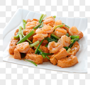 香葱虾球烧豆腐图片