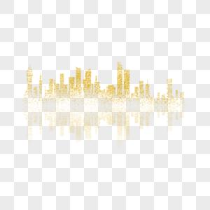 金色城市倒影图片