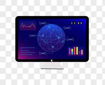 球形线性数据化显示电脑屏科技感图片