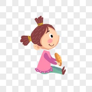 坐着吃东西的女孩图片