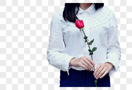 美女手里拿着玫瑰花图片
