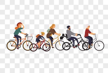 骑自行车人群元素图片