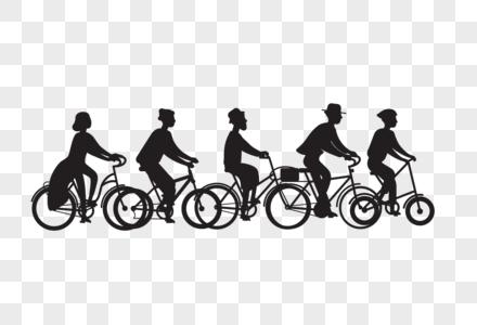 骑自行车人群剪影元素图片