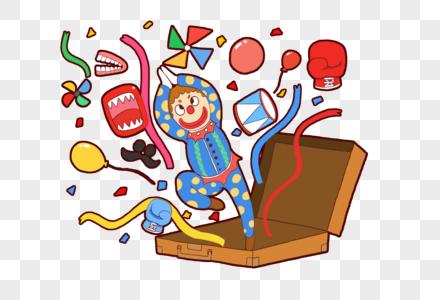 创意愚人节小丑礼物箱元素设计图片