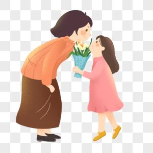 母亲节给母亲送花的女孩图片