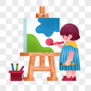 儿童节画画的女孩图片