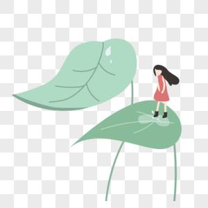 春季绿叶雨水免抠素材图片