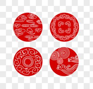 中国古代纹样红色矢量素材图片