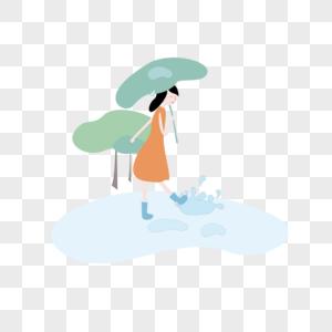 雨水荷叶小女孩免抠素材图片