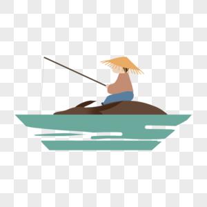 清明节渔夫钓鱼图片