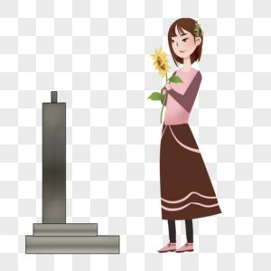 清明节女孩扫墓图片