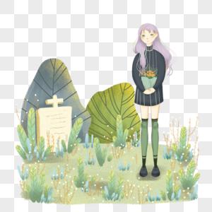 女孩扫墓祭拜图片