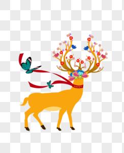 创意麋鹿与花图片