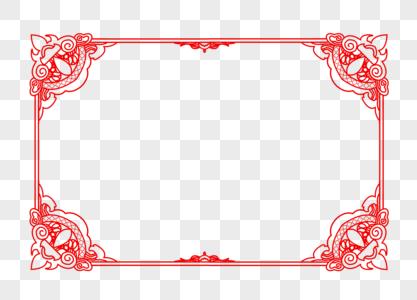 创意中国风图腾红色花纹边框图片