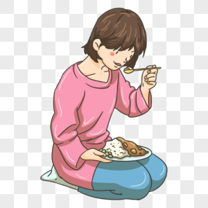 跪着吃早饭的姑娘图片