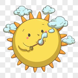 吹泡泡的太阳图片