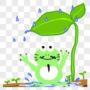 小青蛙避雨图片