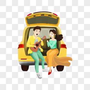 坐在车上的情侣图片