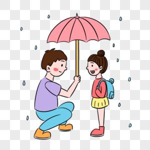简约下雨天爸爸为女儿撑伞场景图片