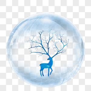 水晶球中的鹿图片