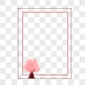 淡雅粉色花树矩形边框图片