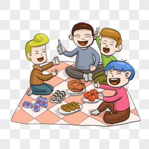 手绘春季野餐郊游游玩聚餐图片