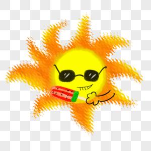 吃冰棒的太阳图片