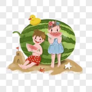 夏日小朋友吃西瓜素材图片