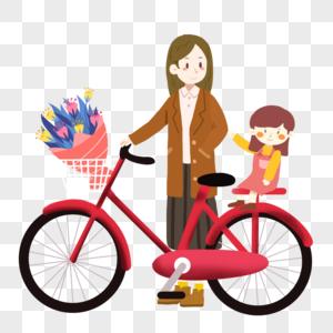 母亲节骑脚踏车的母女图片
