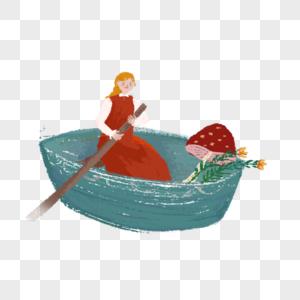 撑船的女孩图片