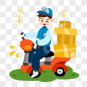 骑摩托的快递员图片