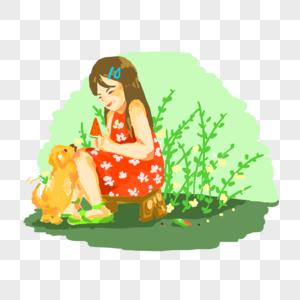 手绘吃西瓜小孩可爱图片