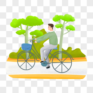 春季户外出行骑自行车的人物图片