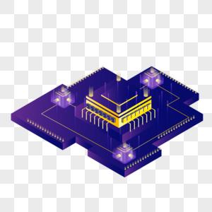 2.5D科技城市芯片矢量图图片