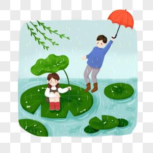 谷雨节日节气手绘插画元素图片