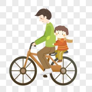父亲节一起骑自行车的父子图片