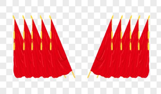 创意列阵手绘红旗图片