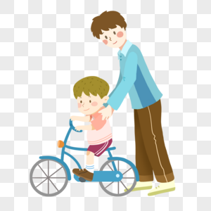 父亲节教孩子骑自行车的爸爸图片