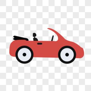 手绘卡通红色小跑车图片