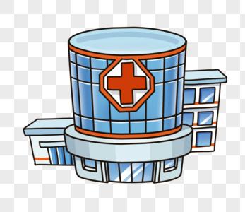 创意手绘城市建筑高楼医院图片