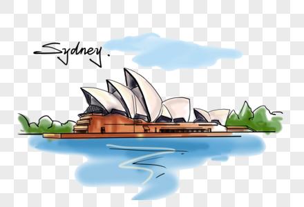 澳大利亚悉尼歌剧院风格创意手绘图片