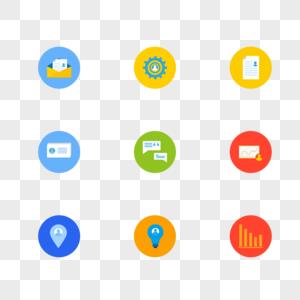 多彩扁平化网页图标图片