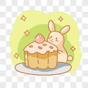 吃蛋糕的小兔子图片