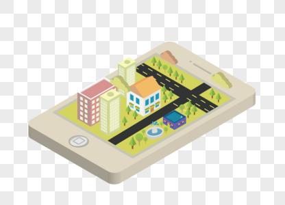 AI矢量图2.5D手机城市图片